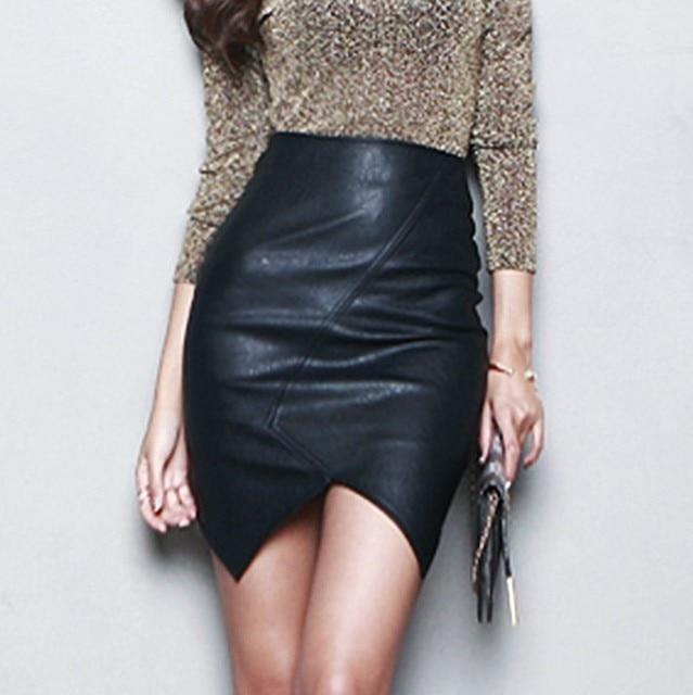 Новый Асимметричный Короткие Кожаные Юбки Женщин 2016 Сексуальный Тонкий Тонкий пакет Бедра Saia Feminina Высокой Талией Юбка-Карандаш S ~ L Черный юп