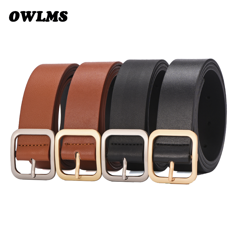 New Female Fashion Casual Square Buckle Wide Belts For Women Pinceis Jeans Belt Women's Pu Leather Silver Pin Buckle Strap Black
