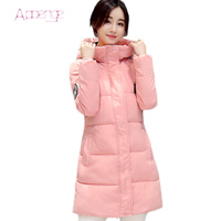 APOENGE women long winter jacket 2017 keep warm clothes for women military green parka hooded coats with zipper parkas LZ361