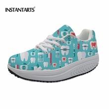INSTANTARTS Kvinder Fitness Sko High Quality Beathable Sports Slankesko Kvinde Tandlæge Mønster Sneakers Platform Wedge Shoes