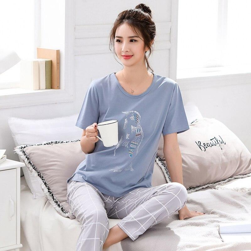Wiosna lato nowy kobiety piżamy odzież krótkie topy zestaw kobiet piżamy ustawia nocna zestawy piżamy zestawy kobiety Home Wear 5XLZestawy piżam   -