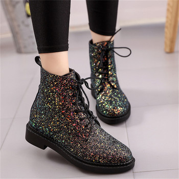 COOTELILI Designers Brand Women Ankle Boots Heels Female Shoes Woman Autumn Glitter Lace up Boots Casual Bling Pink Black White