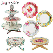JOY-ENLIFE Vintage Floral Tea Party Disposable Flower Paper Plate Cake Stand Wedding Decoration Birthday Tea Party Supplies
