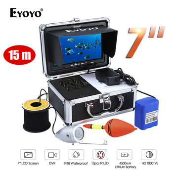 Eyoyo 7Color Monitor 15m Professional Fish Finder Underwater Sea Ocean Fishing Video Camera 1000TVL HD Silver Cam Infrared EYOYO