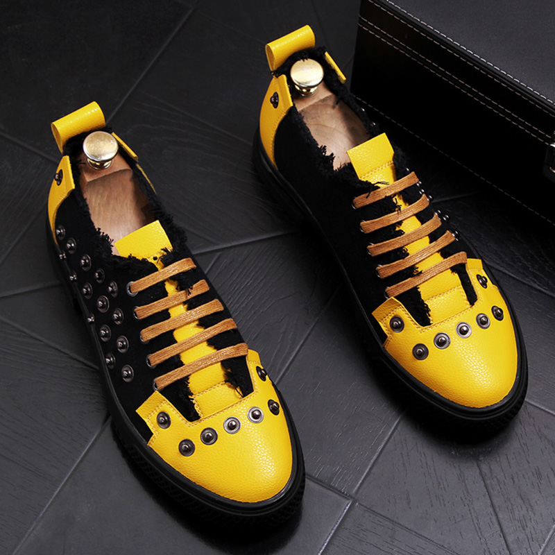 British fashion mens party nightclub dress soft leather rivets shoes young teenage flats platform lace-up shoe sneakers zapatos 1