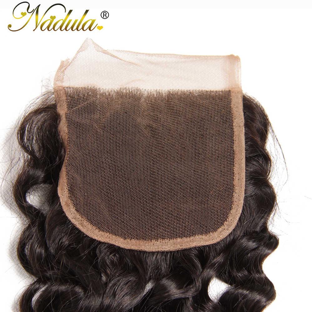 Nadula волосы бразильские глубокая волна Закрытие 10-20 дюймов Remy волосы ткет 4*4 Бесплатная часть швейцарские Кружева Закрытие Бесплатная доставка