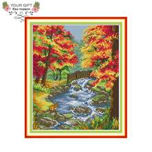 Your Gift F992 14CT 11CT Counted and Stamped Home Decor The Autumn Of The Creek Needlework Embroidery Cross Stitch Kits(China)