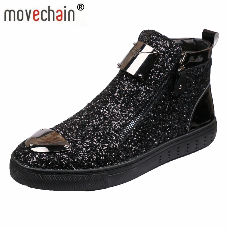 Movechain New Men's Casual Fashion Zipper Outdoor High-Top Shoes Man Slip-On Boots Mens Driving Party Flats