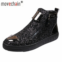 Movechain New Men's Casual Fashion Zipper Outdoor High Top Shoes Man Slip On Boots Mens Driving Party Flats