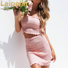Fashion Women  2 Piece Set Bodycon Skirt Crop Top off shoulder Top Summer two piece sets Bandge Cute Mini Skirt Summer Clothes cute high neck cartoon owl print crop top skirt briefs women s three piece swimsuit