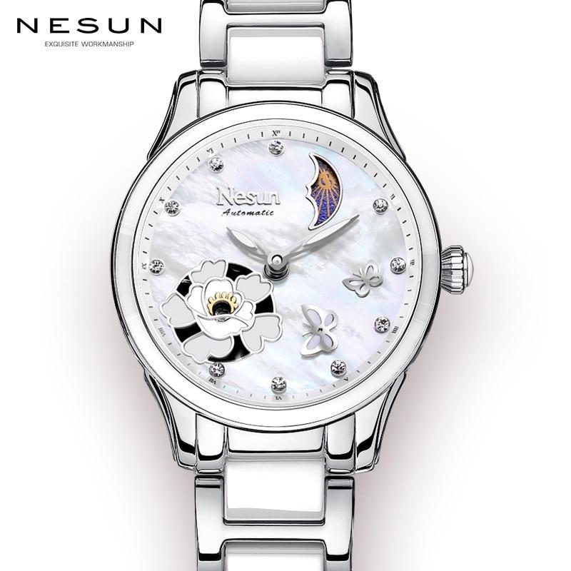 Switzerland Nesun Women's Watches Luxury Brand Clock Automatic Mechanical Wristwatches Waterproof relogio feminino N9073-3 moers 3tm relogio mj8010 3