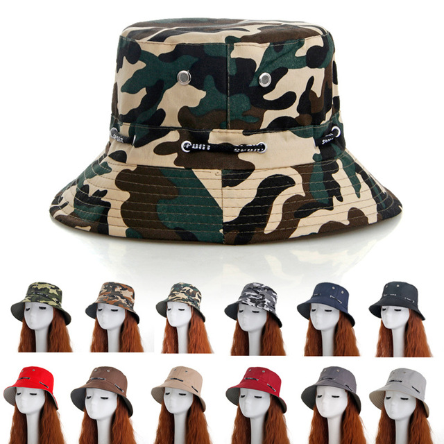 a36c39cd30752 12 Color Cotton Summer Military Camouflage Bucket Hat Outdoor Sun Hats  Travel Boonie Hiking Casual Fishing