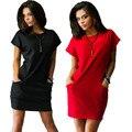 Новый 2017 Европейская Мода Женщины Dress Твердые Коротким Рукавом О-Образным Вырезом Карманный Мини Сексуальные Летние Платья Плюс Размер Свободные Случайные Vestidos