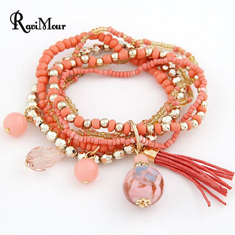 RAVIMOUR Bohemian Multi Layers Fashion Beads Bracelets & Bangles for Women Tassel Balls Brazaletes Pulseras Mujer Bijoux Femme