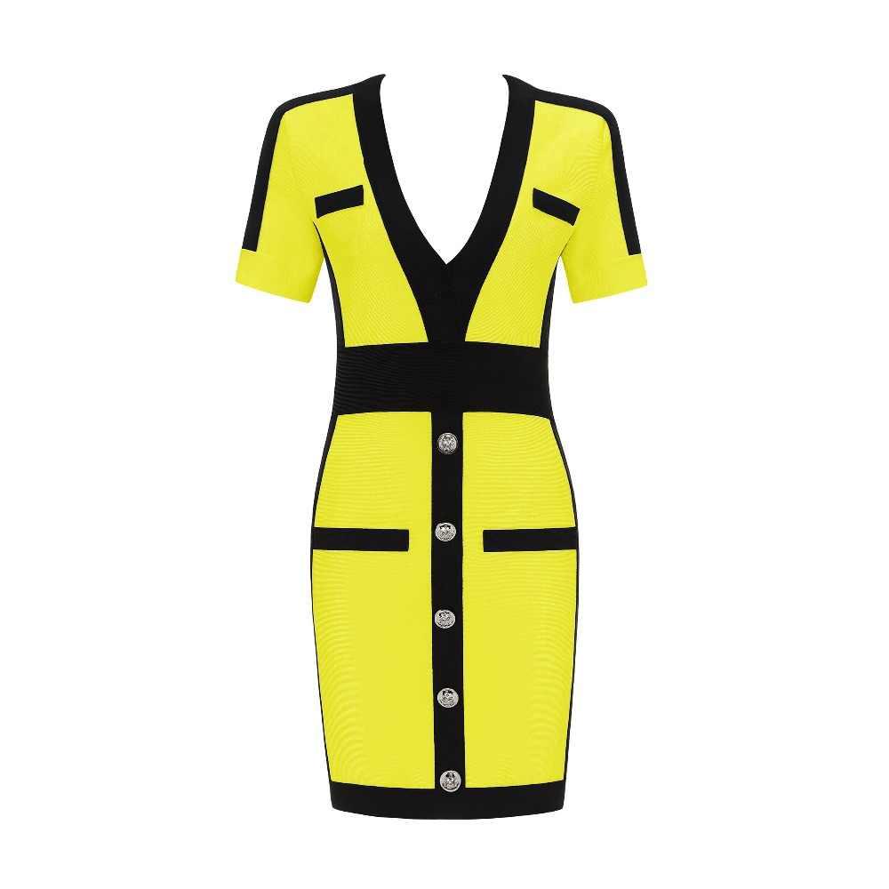 Бесплатная доставка 3 цвета летнее платье Для женщин Сексуальная V шеи короткий рукав желтый красный Бандажное платье 2019 женские вечерние туфли