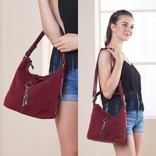 цены 2018 Fashion Women Split Leather Shoulder Bag Female Suede Casual Crossbody handbag Casual Lady Messenger Hobo Top-handle Bags