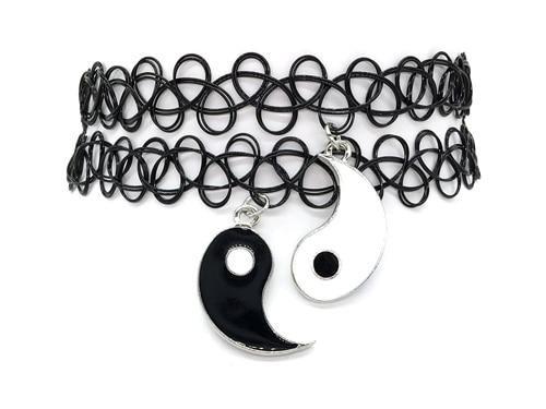Tatuaż Choker Naszyjnik Czarny Choker 1 Coulple Yin Yang Black And