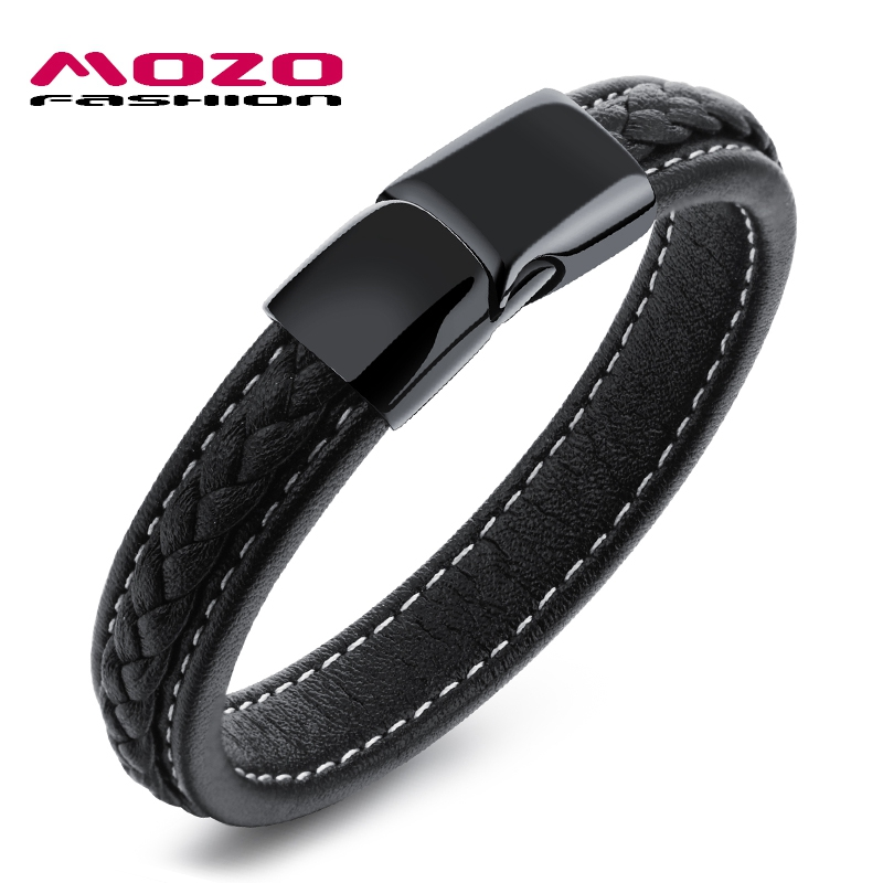 MOZO FASHION Men Black Leather Bracelet s
