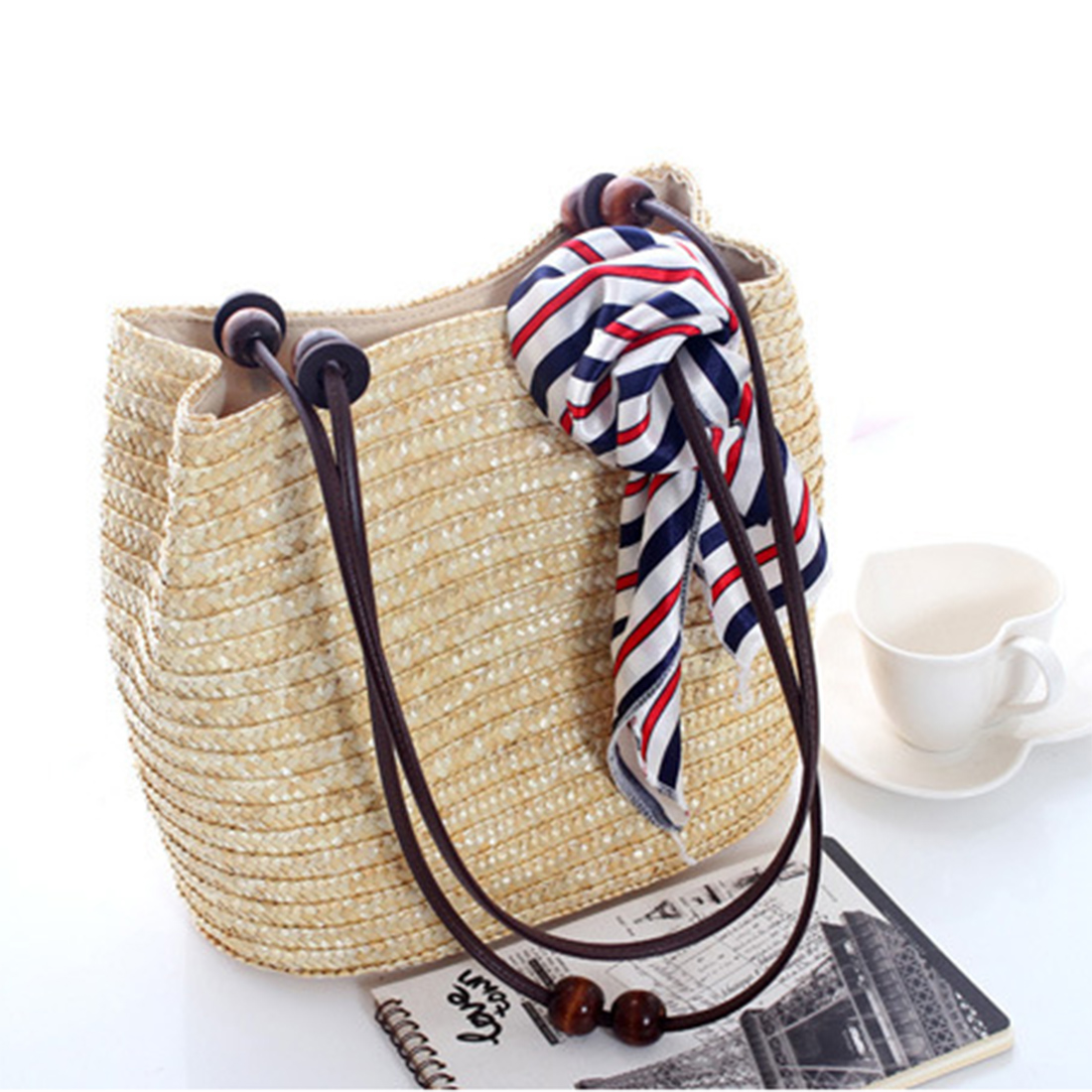 3 Color Women Hand Made Handbags Vintage Style Shoulder Bag Wooden Beads Decoration Wheat Grass Bag Beach Messenger Bag Hot Sale