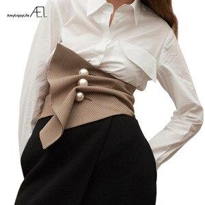 Женский топ с жемчужной пряжкой AEL, черный/белый модный декоративный пояс