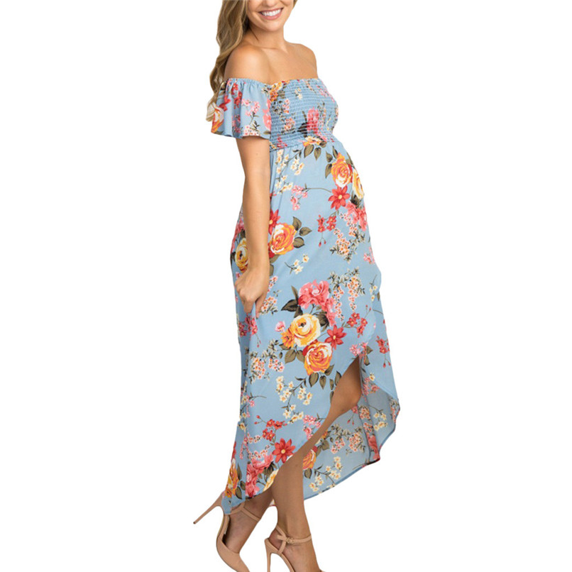 Women Maternity Summer Floral Off Shoulder Short Sleeve Sundress Pregnancy Dress