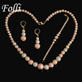 High Quality Real Gold Plated Jewelry Set Rose Gold 18K  Silver Nigerian Wedding African Beads Costume Jewelry Earring Necklace