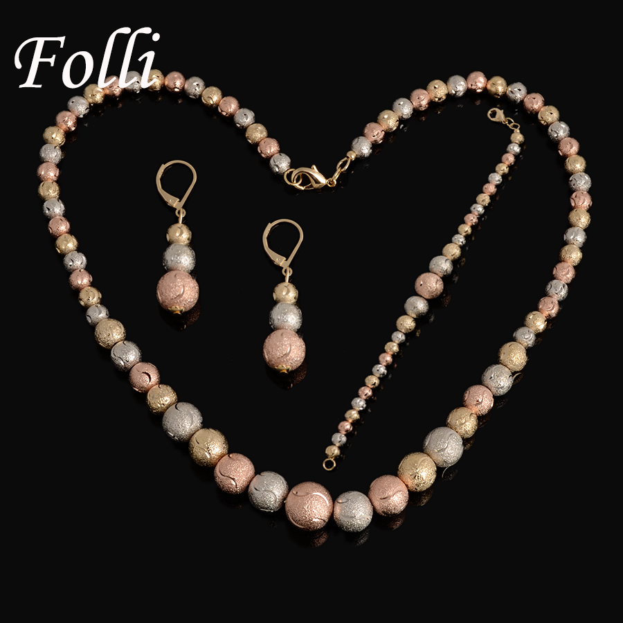High Quality Three Color Jewelry Set Rose Silver Gold Nigerian