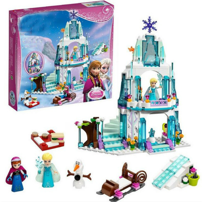 Dream Princess Elsa Ice Castle Princess Anna Set Model Building Blocks Gifts Toys Compatible Lepining Friends image