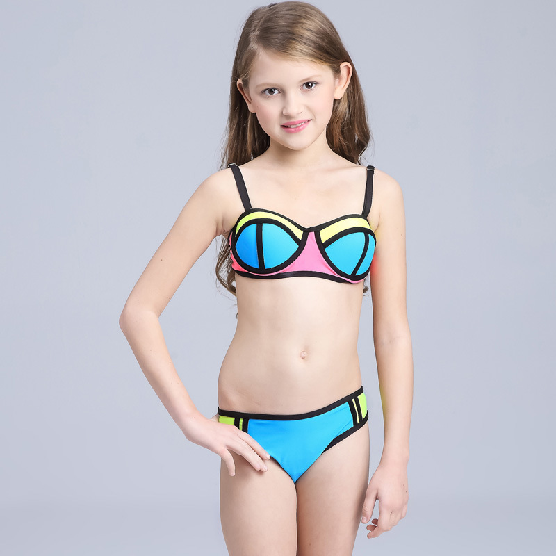 Brand 2019 Hot Sale Hit Color Stitching Swimsuit For Baby Girl Children Beach Bikini Set Two Pieces Kids Swimming Suit Biquini