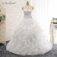 Alibaba Loja De Varejo Newest Style Organza Ruffled Wedding Dresses Ball Gown Style Sweetheart Corset Back