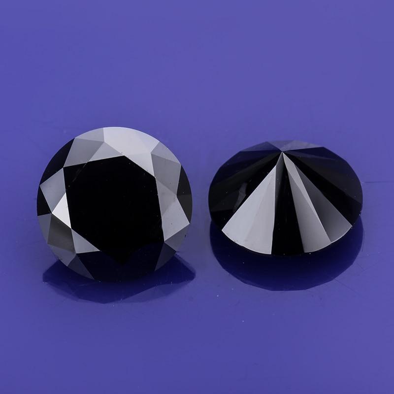 Round Brilliant Cut 1ct Carat 6.5mm Black Moissanite Loose Stone VVS1 Excellent Cut Grade Test Positive Lab Diamond