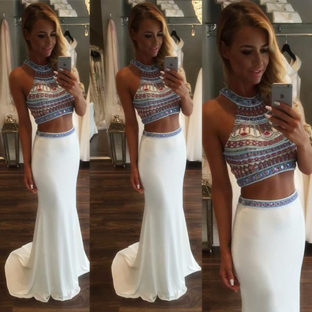 8c227175c0 Venta caliente de Dos Piezas Vestido de Fiesta Blanco Hermoso Moldeado  Cristalino de La Sirena Vestido