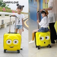 CARRYLOVE cartoon luggage series 18/20 inch handbag+Rolling Minions Luggage Spinner brand Travel Suitcase