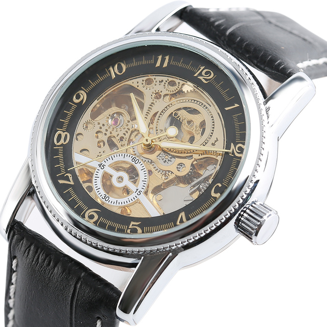 177680140a2 Luxo Prata Engrenagem do Projeto de Esqueleto Mecânico Automático do Relógio  de Aço Inoxidável Pulseira de