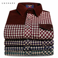 U&SHARK 2016 Autumn Spring Mens Casual Plaid Shirts Long Sleeve Dress Shirt Men Retro Style Corduroy Camiseta Masculina Male