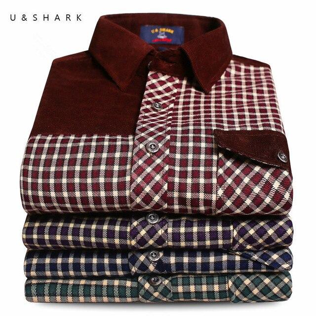 U & SHARK 2016 Outono Primavera Dos Homens Casuais Camisas Xadrez de Manga Comprida Camisa de Vestido Dos Homens do Estilo Retro Corduroy Camiseta Masculina masculino