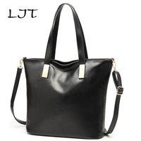 LJT 2017 Autumn Women Casual Shoulder Bag Oil Wax Leather Retro Tote Bag Large Capacity Female Vintage Crossbody Bag Handbag