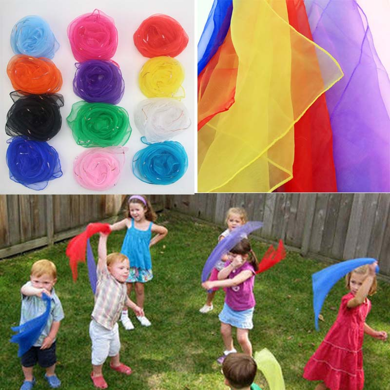 Children Kids Kindergarten Performance Dance Scarves Bright Candy Color Gold Wire Juggling Movement Square Scarf Kerchief Props