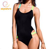 Sexy Backless Colorful Straps Sport Swimwear Women High Cut One Piece Swimsuit Monokini Black Slimming Bodysuit