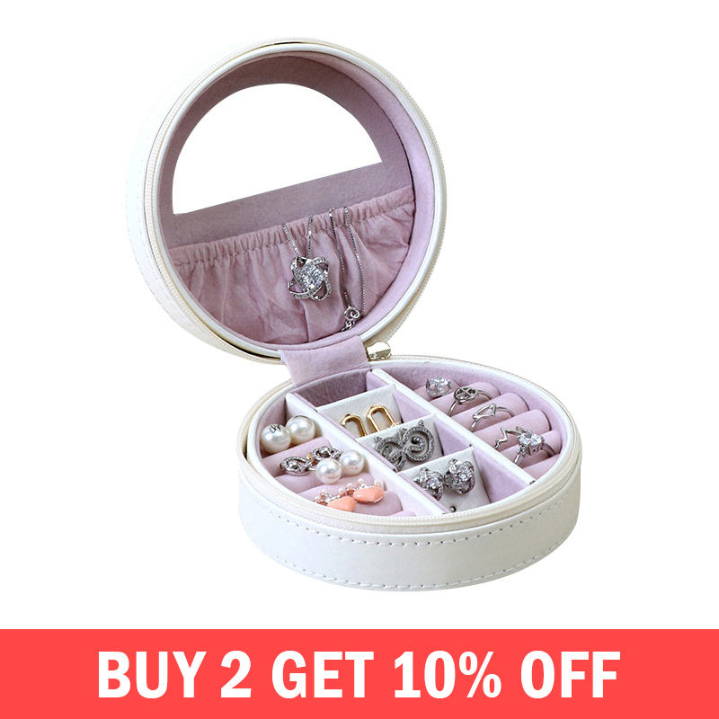 Circular Fashion Makeup Organizer Creative Female Necklace Earring Stud Collection Packaging Box Travel Organization AccessoriesCircular Fashion Makeup Organizer Creative Female Necklace Earring Stud Collection Packaging Box Travel Organization Accessories