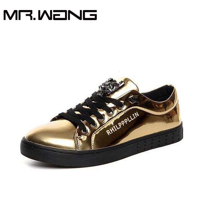 Высокого качества для Мужчин спортивная обувь повседневная мужская кожаная обувь повседневная Кроссовки Квартиры Лакированной кожи дышащей обуви 38-44 BB-6