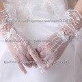 Em Estoque Moda Nupcial Vestido Branco Luvas de Pulso Comprimento Luvas De Noiva Rosa Luva Da Menina de Flor Do Casamento Por Atacado