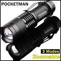 2016 Mini LED Torch 7W 2000LM CREE Q5 LED Flashlight Adjustable Focus Zoom flash Light Lamp free shipping wholesale