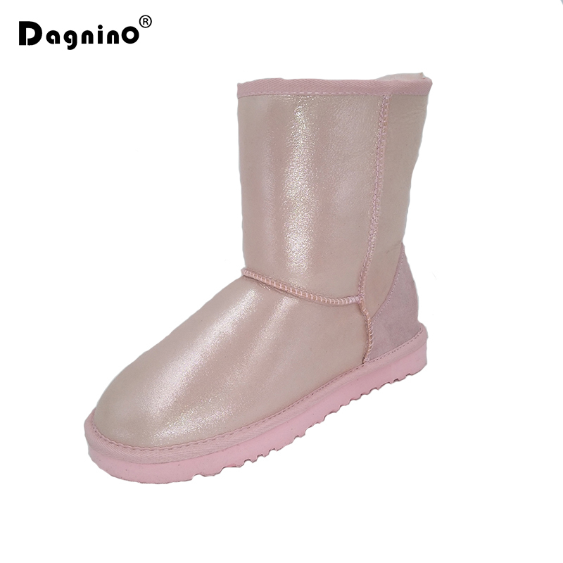 DAGNINO Brand Shearling Wool Winter Shoes Women Winter Warm High Quality Sheepskin Leather Natural Fur Waterproof Snow Boots