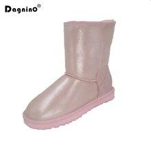 DAGNINO Brand Shearling Wool Winter Shoes Women Winter Warm High Top Quality Sheepskin Leather Waterproof Snow Boots Fur Boots