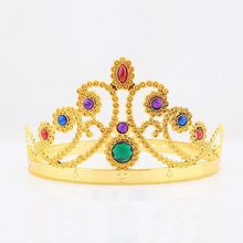 Unique Gold Plastic Jeweled King Crown Tiara Crown Hairband Headwear King Queen Christmas Headdress Head Ring Christmas Gift