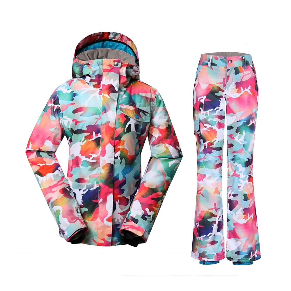 Prix pour Pas cher camouflage snowboard ensembles en plein air camo neige jacekt chaleur pantalon coloré ski costumes 2017 d'hiver gsou snow combinaisons de ski pour femmes