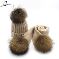 Lanxxy Winter Scarves Wool Scarf Set for Women Girls Shawls Long Scarf for Kids Real Mink Fur Pompom Hat Scarf Boys Girls
