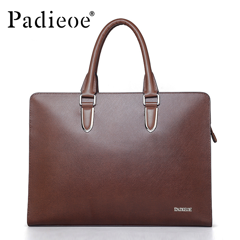 PADIEOE Famous brand luxury leather men's messenger bag business men's laptop briefcase fashion male shoulder leather briefcases