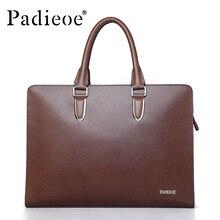 PADIEOE Famous brand luxury leather men s messenger bag business men s laptop briefcase fashion male